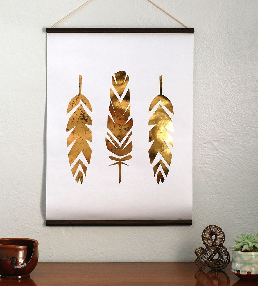 Famous Gold Foil Feather Wall Hanging Poster, Paper And Work Of Art – Super Regarding Gold Foil Wall Art (View 9 of 15)