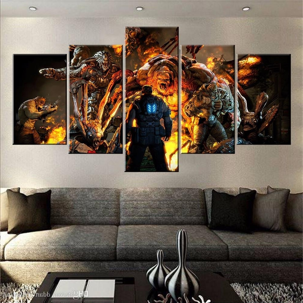 Famous Large Framed Canvas Wall Art In 2018 60X32 Canvas Art Print, 5 Panels Game Living Room Wall Art (View 5 of 15)