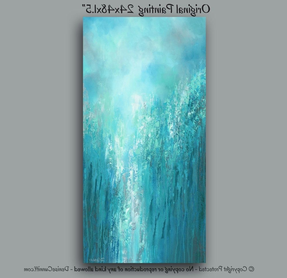 Famous Large Original Wall Art, Gray Turquoise Teal Green & Blue, Tall With Oversized Teal Canvas Wall Art (View 4 of 15)