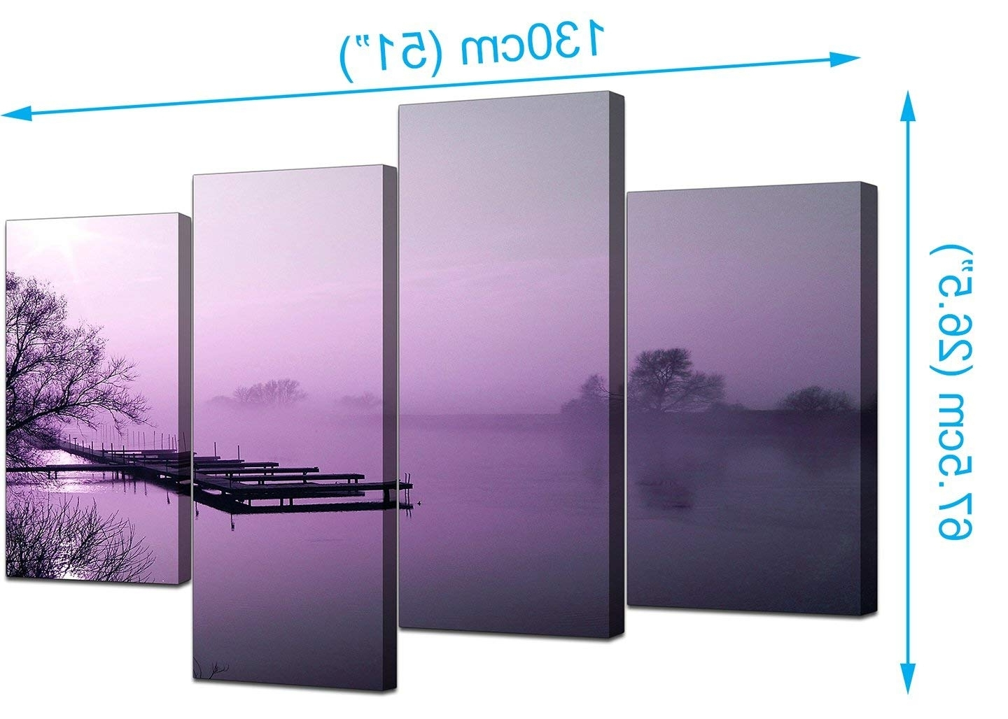 Famous Large Purple Landscape Bedroom Canvas Wall Art Pictures 130Cm Set With Purple And Grey Wall Art (View 2 of 15)