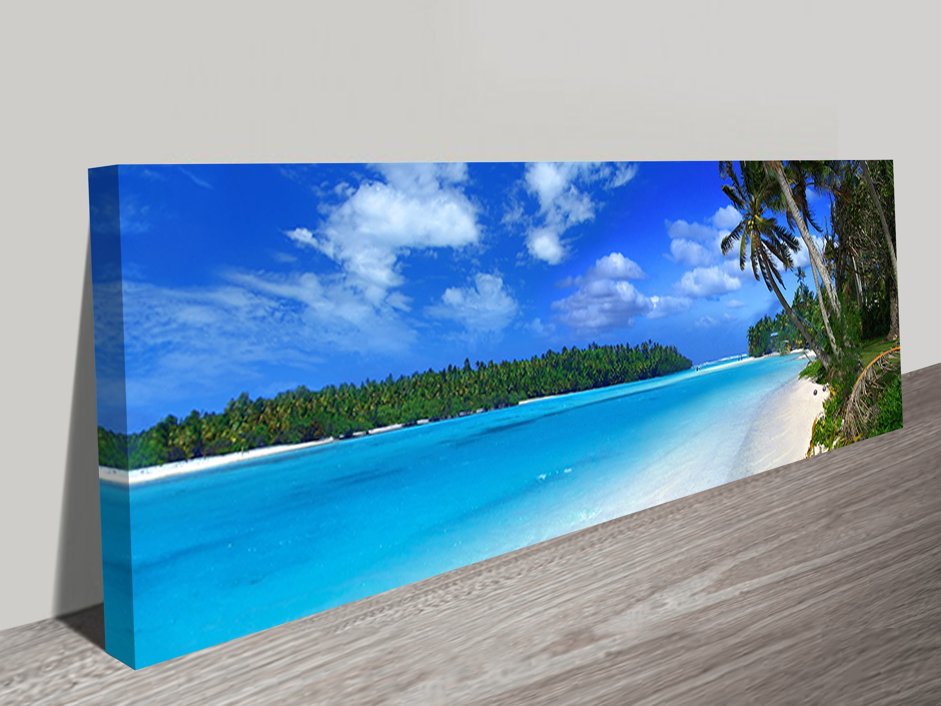 Famous Long Canvas Wall Art Within Amazing Beach Long Canvas Wall Art Panoramic Print (View 3 of 15)