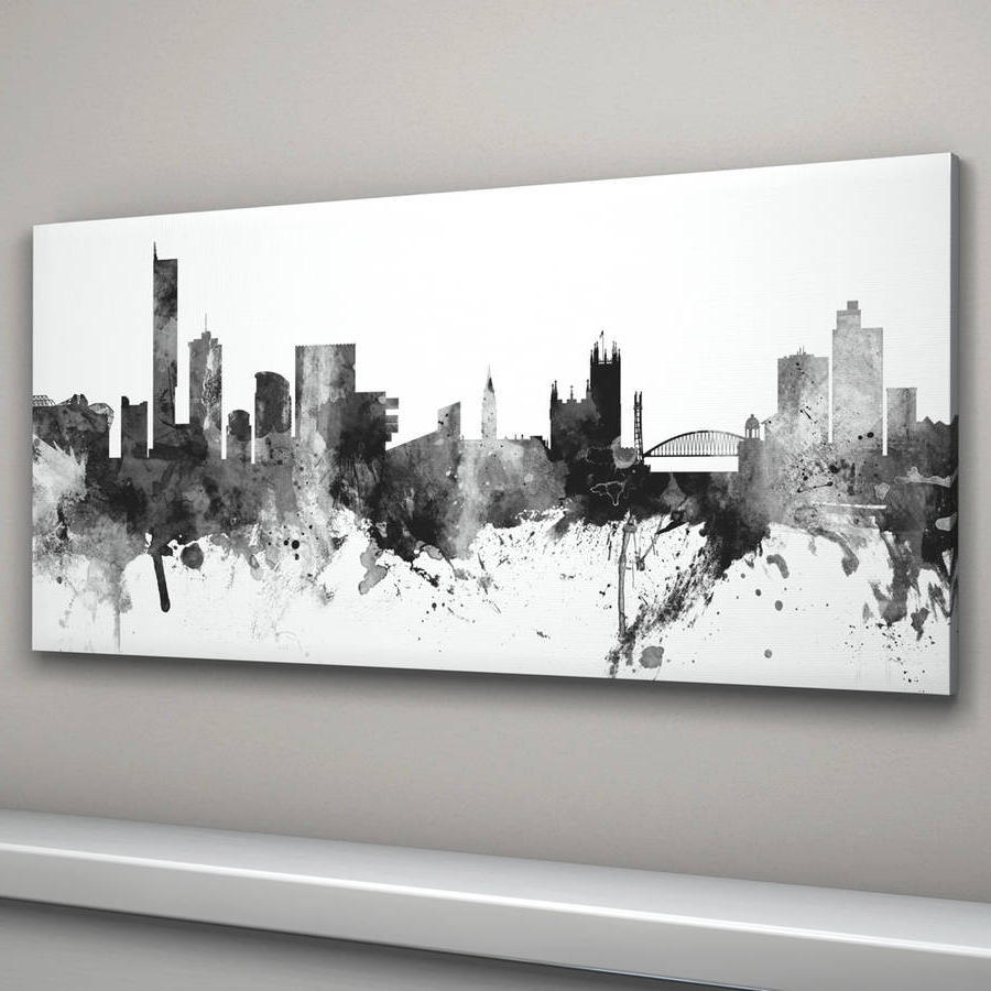 Famous Manchester Skyline Cityscape Black And Whiteartpause With Black And White Canvas Wall Art (View 7 of 15)