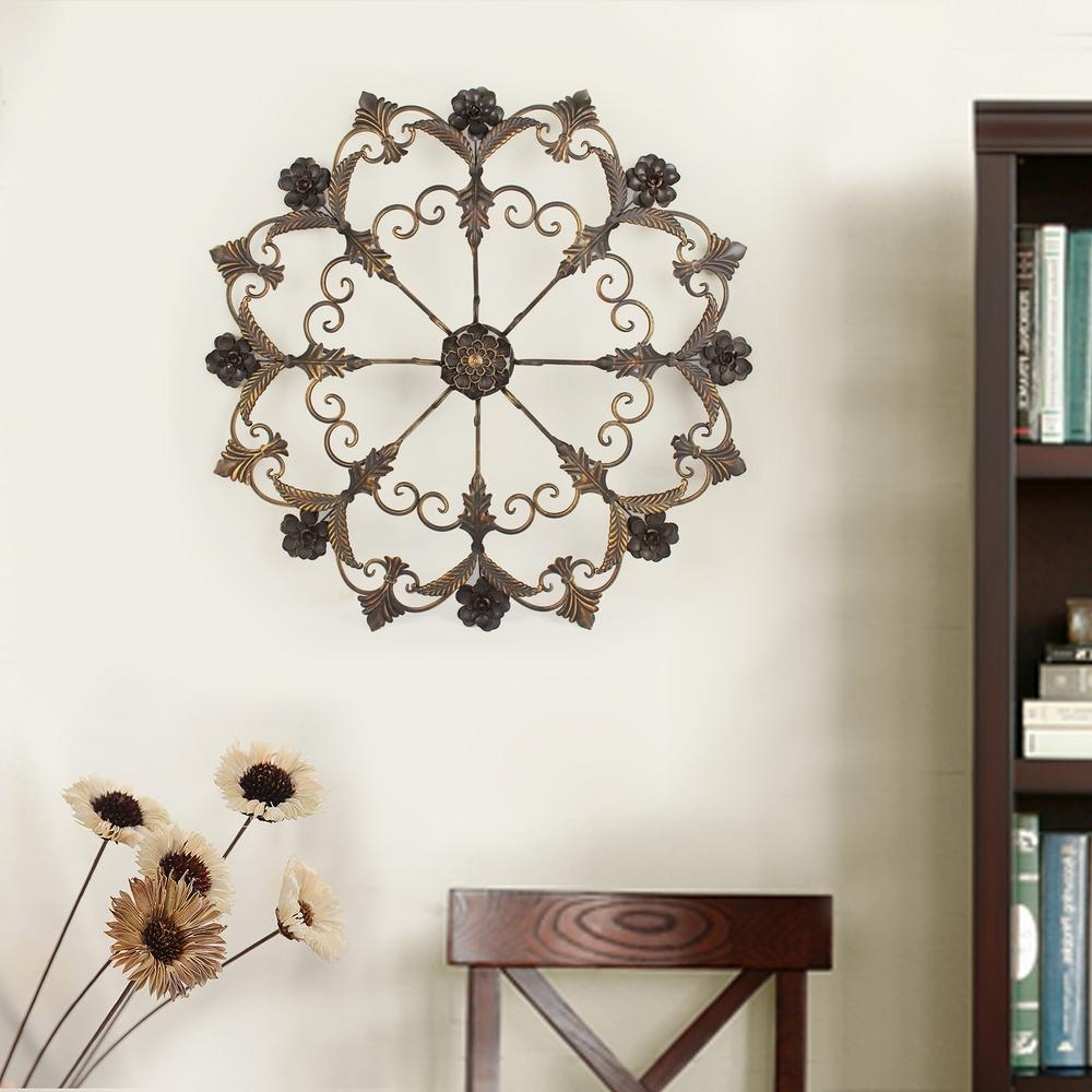 Famous Metallic Wall Art Inside Round Flower Metal Wall Decor Accent Floral Indoorf Leur De Lis (View 3 of 15)
