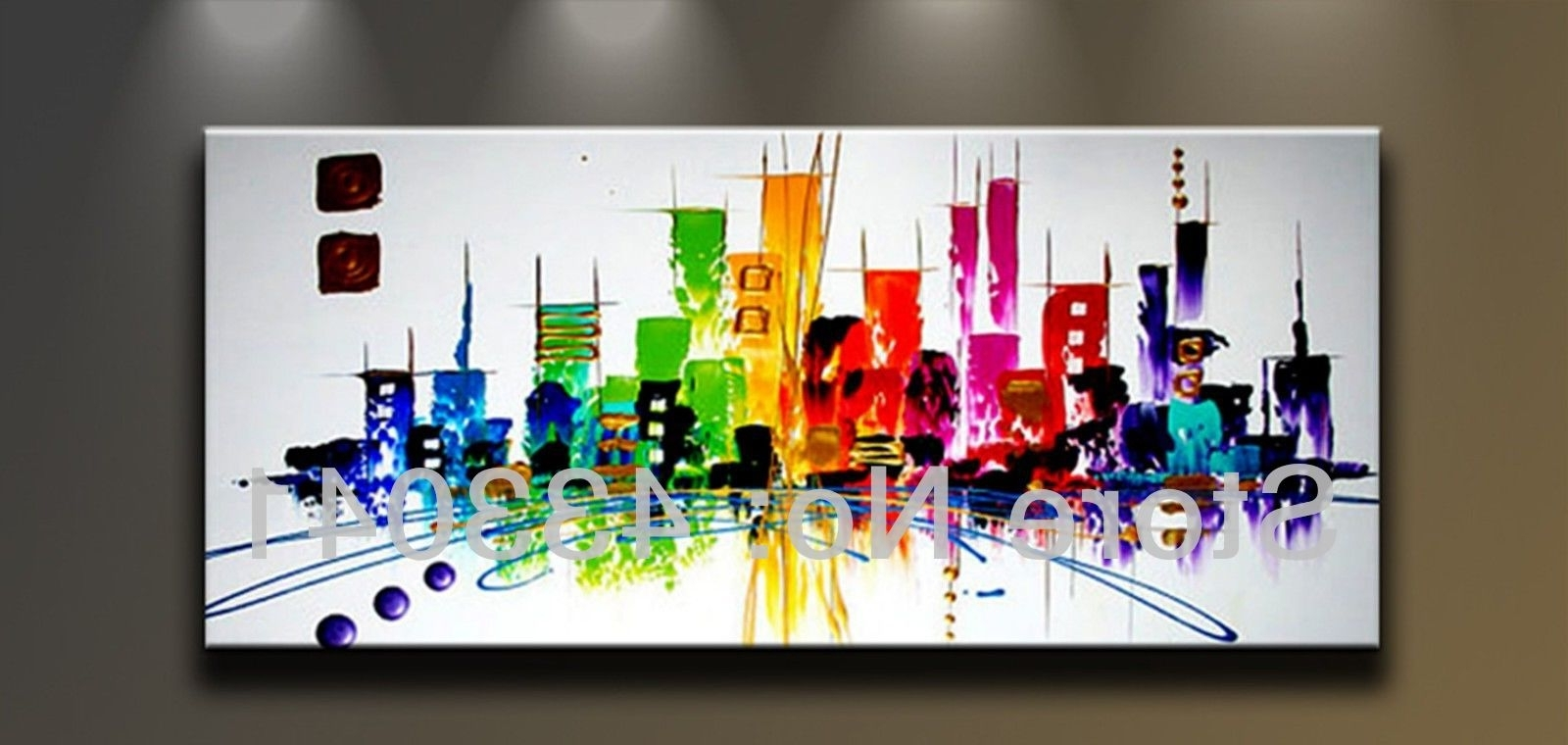 Famous Modern Canvas Wall Art With Hand Painted Large City Building Landscape Oil Painting Abstract (View 7 of 15)