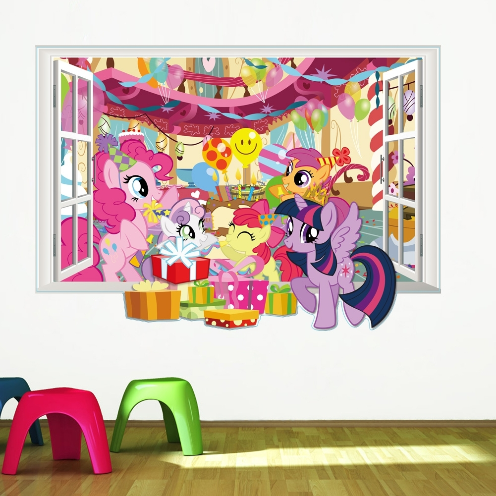 Famous My Little Pony Wall Art With Regard To My Little Pony Wall Decals For Kids Room 3D Window Stickers Diy (View 4 of 15)