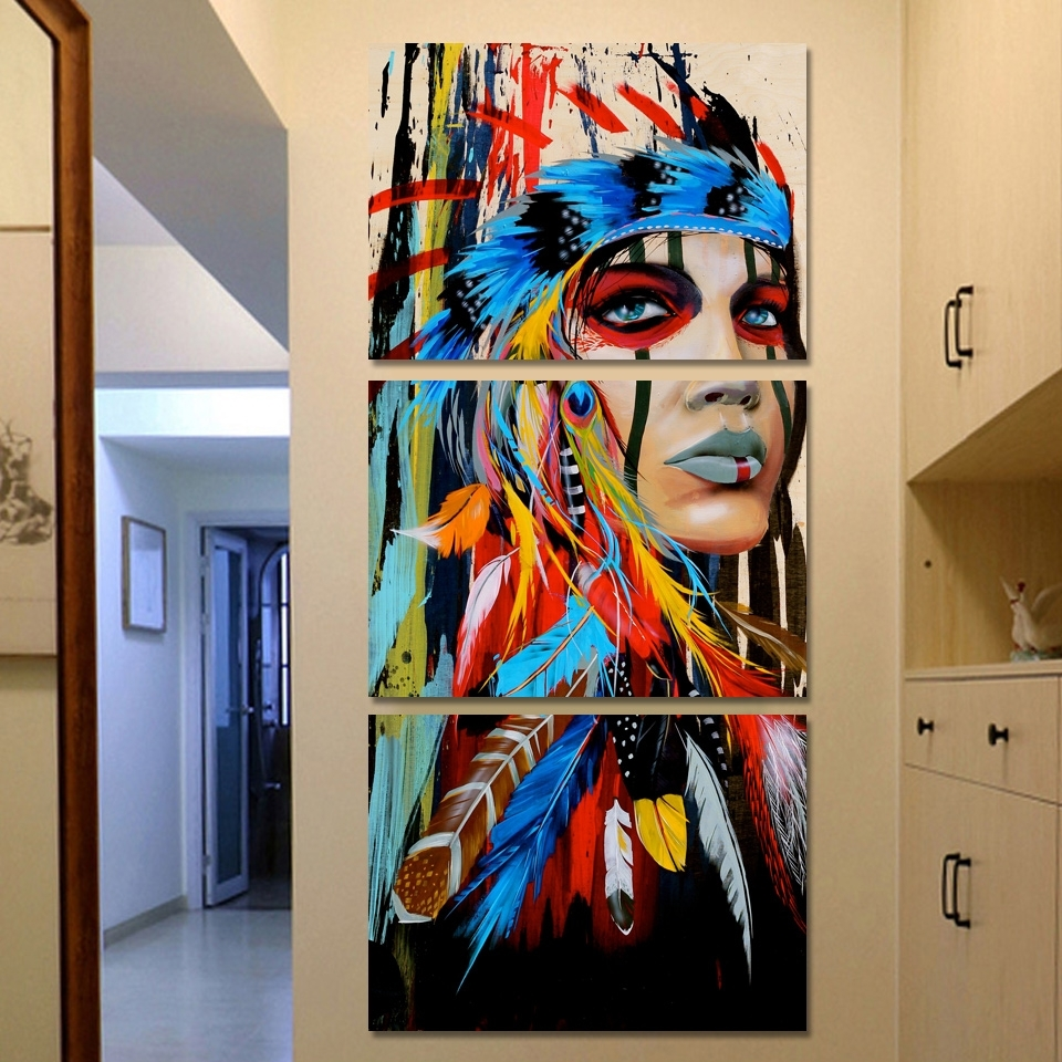 Famous Native American Wall Art In Canvas Wall Art Hd Prints Pictures 3 Pieces Native American Indian (View 9 of 15)