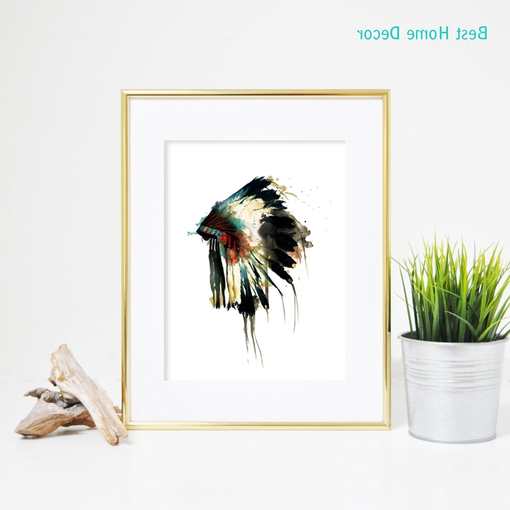 Famous Native Indian American Headdress Art Print Feather Wall Art Wall Within Feather Wall Art (View 10 of 15)