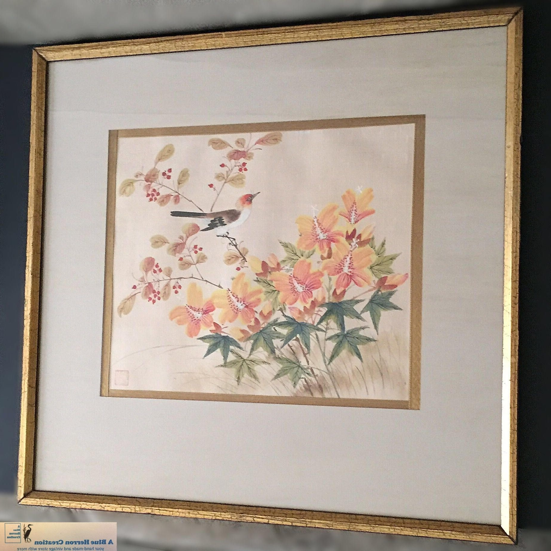 Famous Oriental Wall Art Intended For Vintage: Watercolor Silk Oriental Framed Wall Hanging, Mid Century (View 9 of 15)