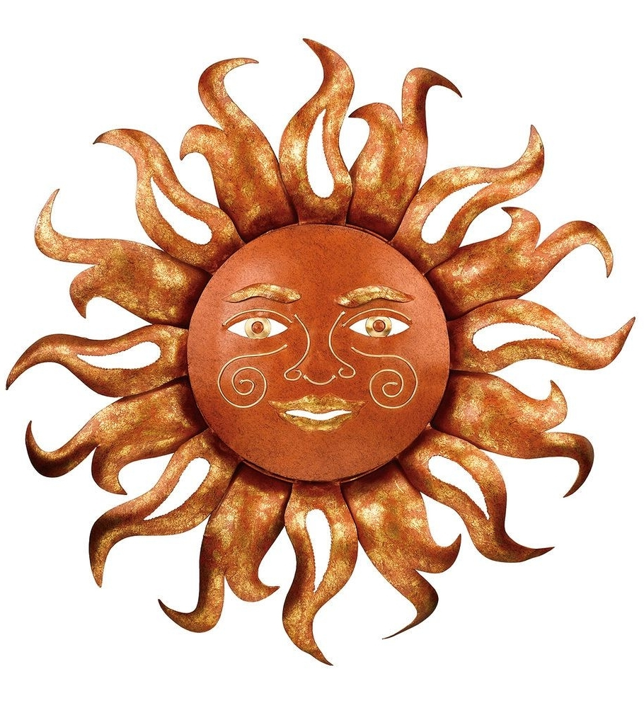 Famous Outdoor Sun Wall Art Within Radiant Sun Face Celestial Metal Wall Art Decor Sunburst Outdoor (View 5 of 15)