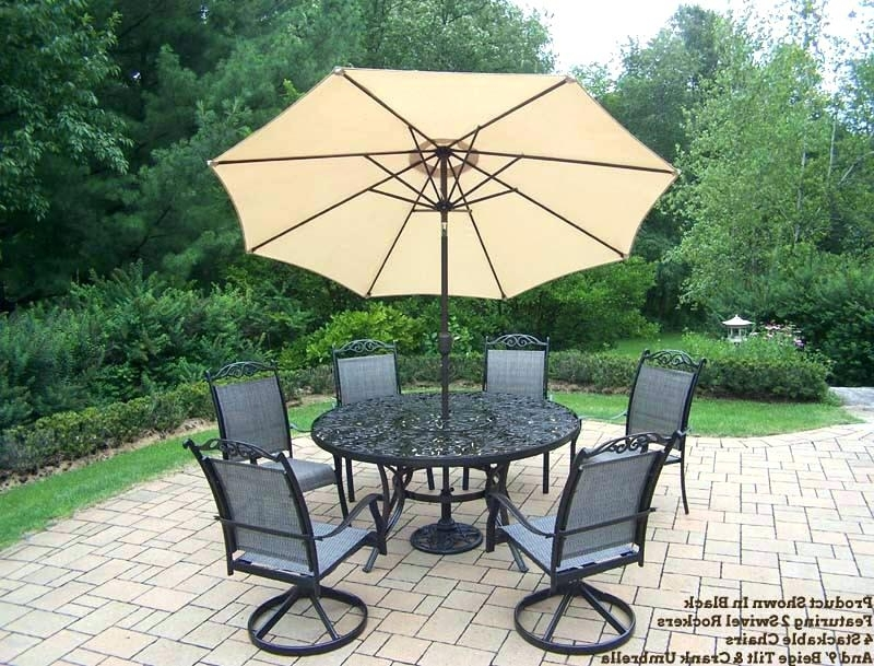 Famous Patio Dining Sets With Umbrellas In 60 Inch Round Patio Table Round Patio Table Captivating Umbrella (View 9 of 15)