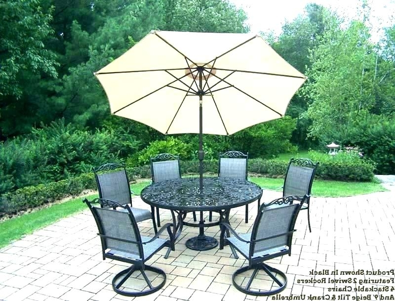 Famous Patio Table Sets With Umbrellas Inside Outdoor Dining Furniture With Umbrella Patio Furniture Dining Sets (View 15 of 15)