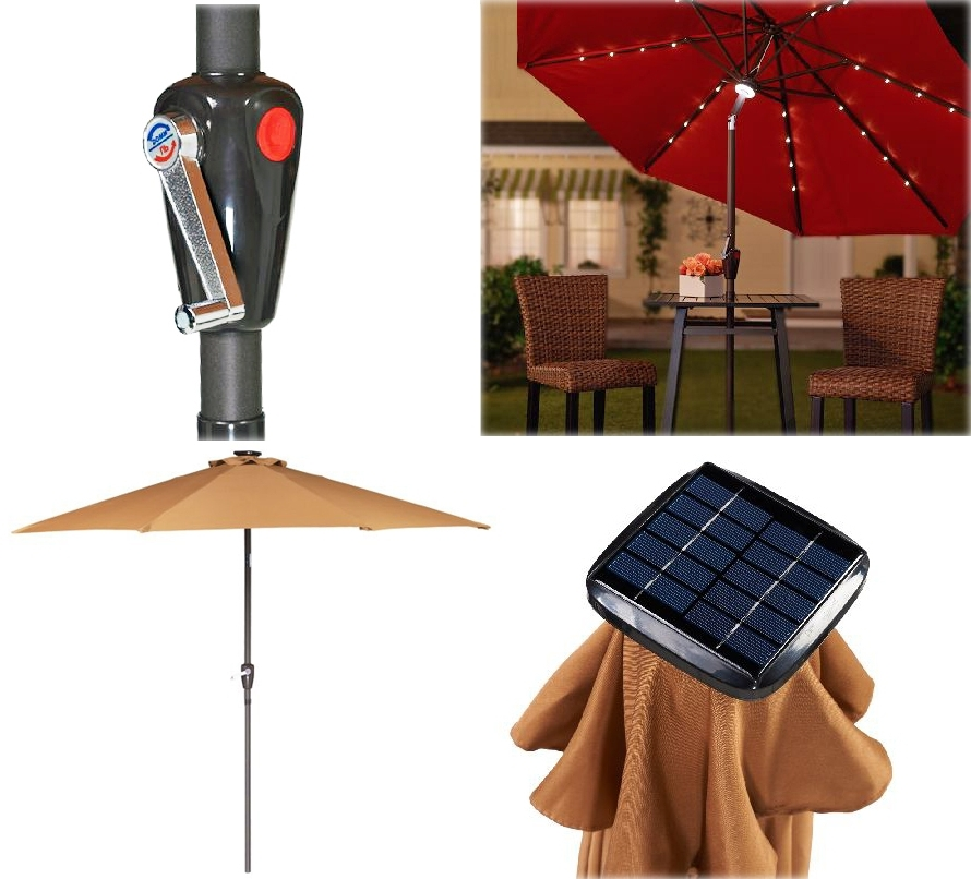 Famous Patio Umbrellas With Solar Lights With Collection In Solar Lighted Patio Umbrella Light Up The Night With (View 8 of 15)