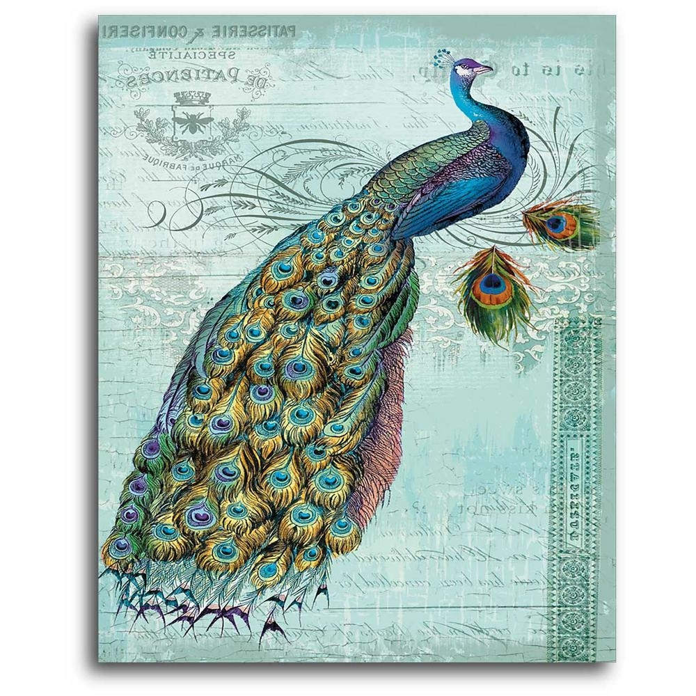 Famous Peacock Wall Art Within 16 In. X 20 In (View 11 of 15)