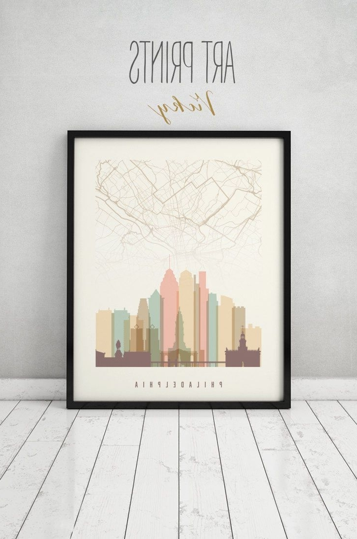 Famous Philadelphia Map Wall Art Throughout Philadelphia Map Print, Philadelphia Map Poster, City Maps (View 3 of 15)