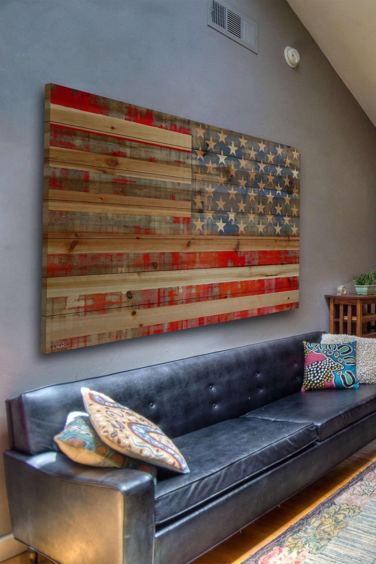 Famous Rustic American Flag Wall Art Pertaining To Rustic American Flag Decor Maybe For A Basement Or Lake House (View 3 of 15)