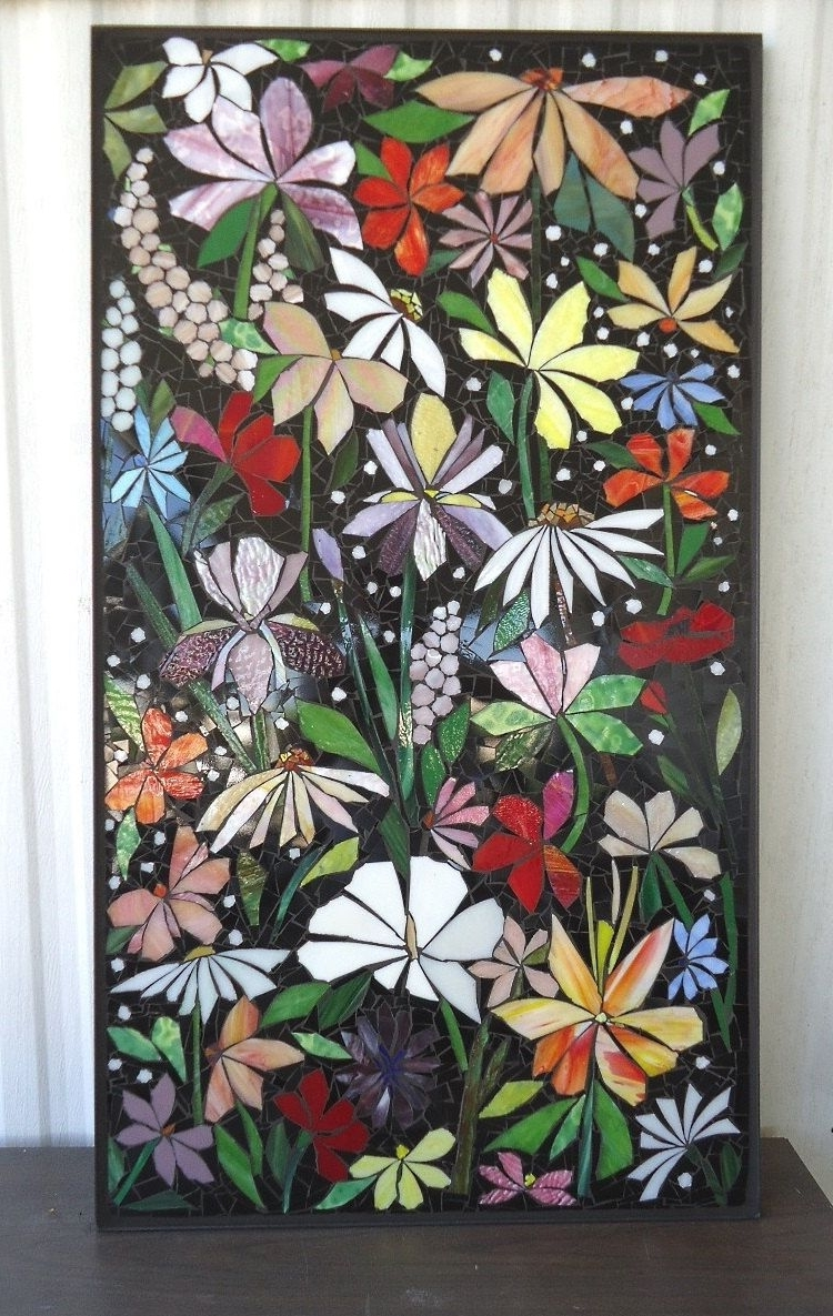 Famous Stained Glass Wall Art With Regard To Exterior Mosaic Wall Art Stained Glass Wall Decor Floral Garden (View 8 of 15)