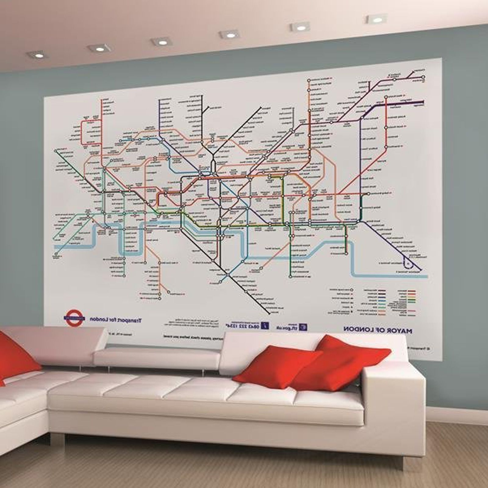 Famous Tube Map Wall Art For London Underground Tube Map Wallpaper Wall Mural 232M X  (View 6 of 15)