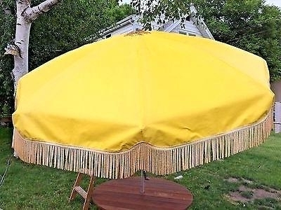 Famous Vinyl Patio Umbrellas With Fringe Throughout Floral Patio Umbrella Vintage Vinyl Yellow Flower Patio Umbrella (View 2 of 15)