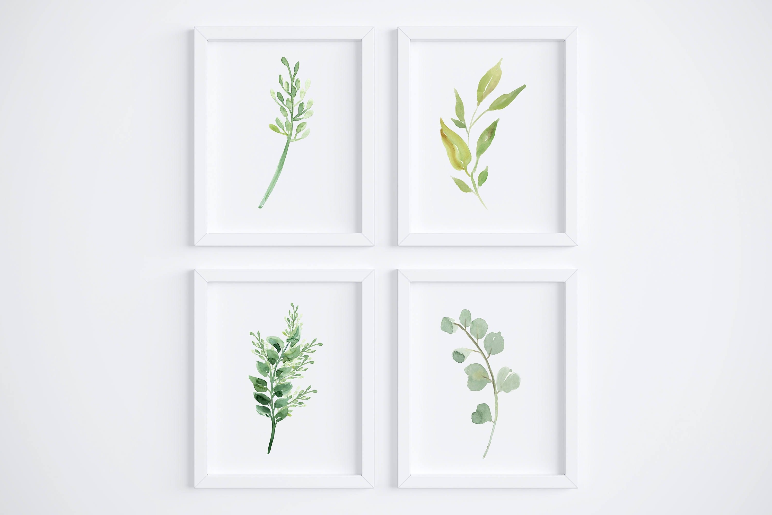 Famous Watercolor Foliage Wall Art Set Of 4 // Greenery // Herbs // Wall Throughout Herb Wall Art (View 11 of 15)