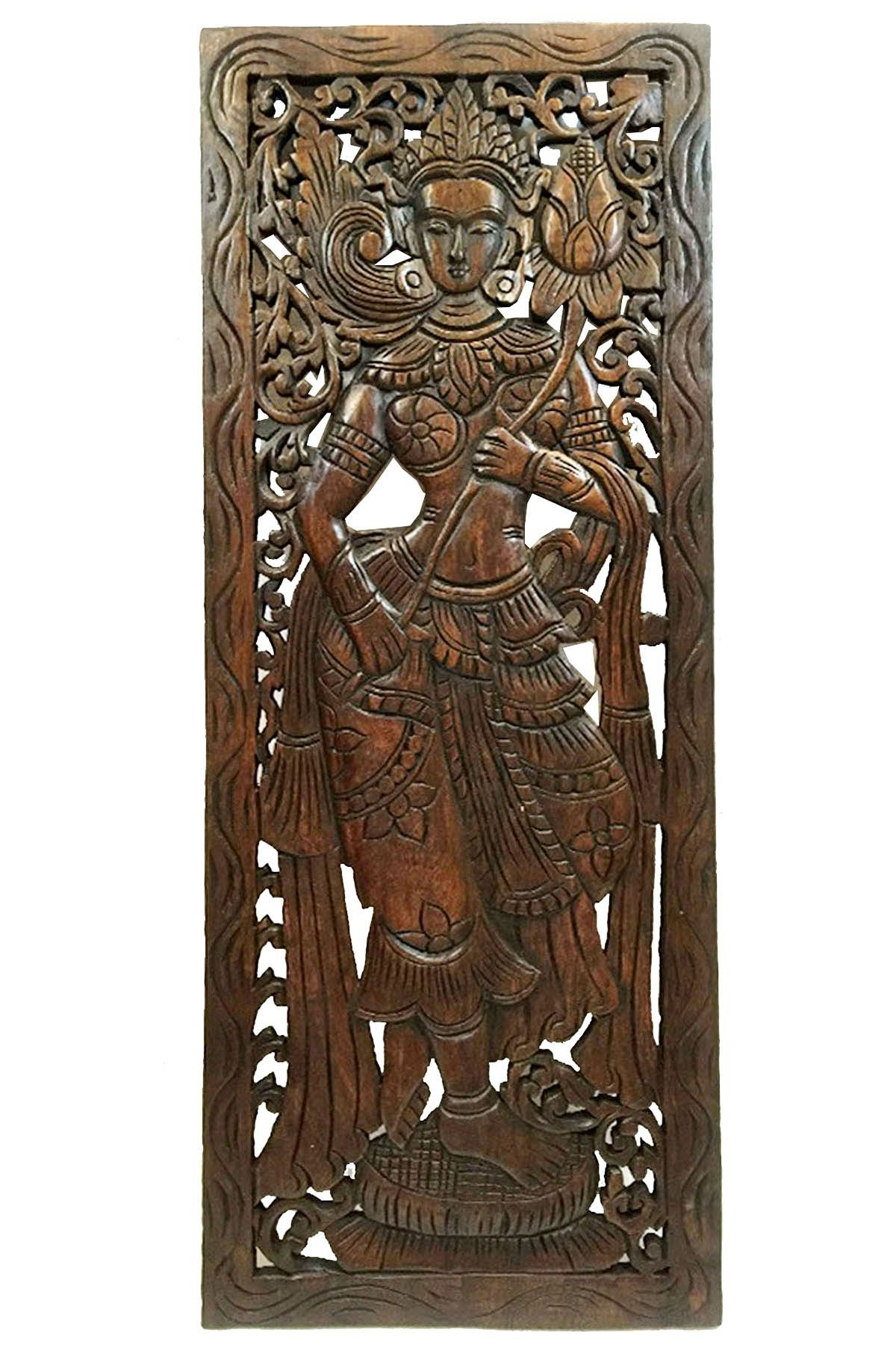 Famous Wood Carved Wall Art. Large Carved Wood Panel (View 4 of 15)