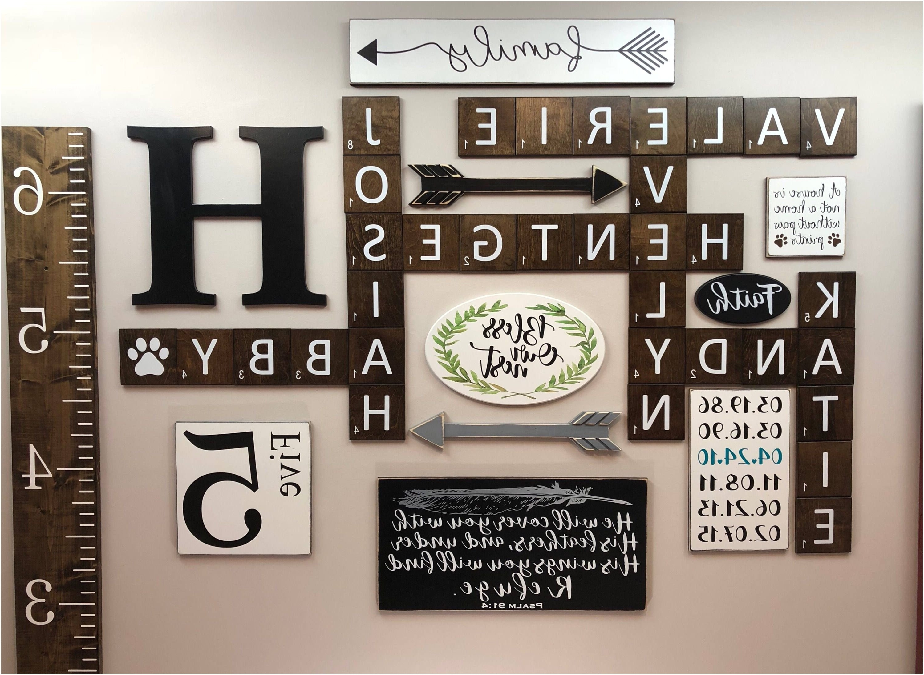 Famous Wooden Initial Letters Wall Beautiful 36 Luxury Family Scrabble Wall For Scrabble Wall Art (View 3 of 15)
