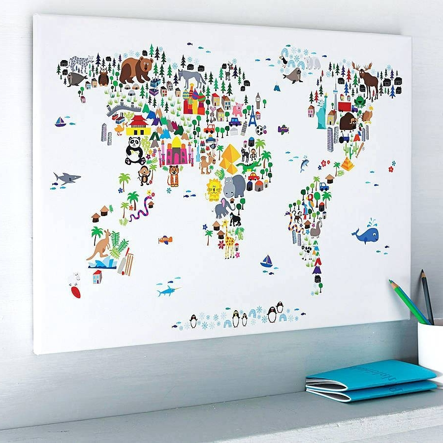 Famous World Map Wall Art For Kids For Kids World Map Wall Decal – Gutesleben (View 9 of 15)