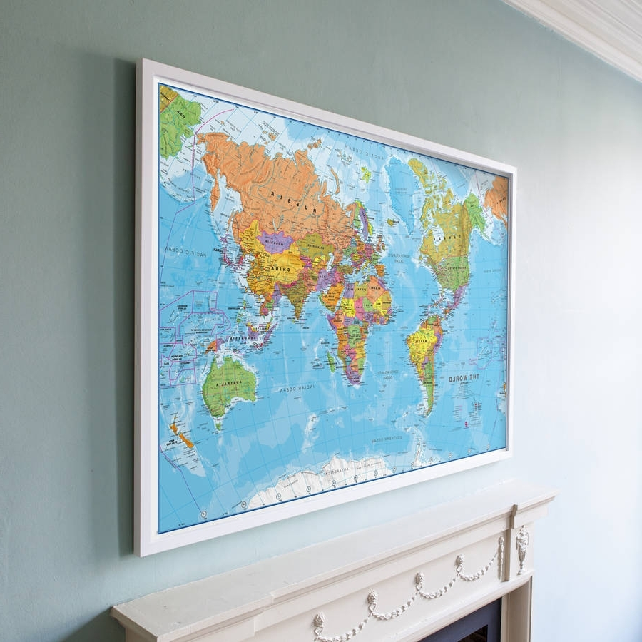 Famous World Map Wall Art Framed (View 4 of 15)