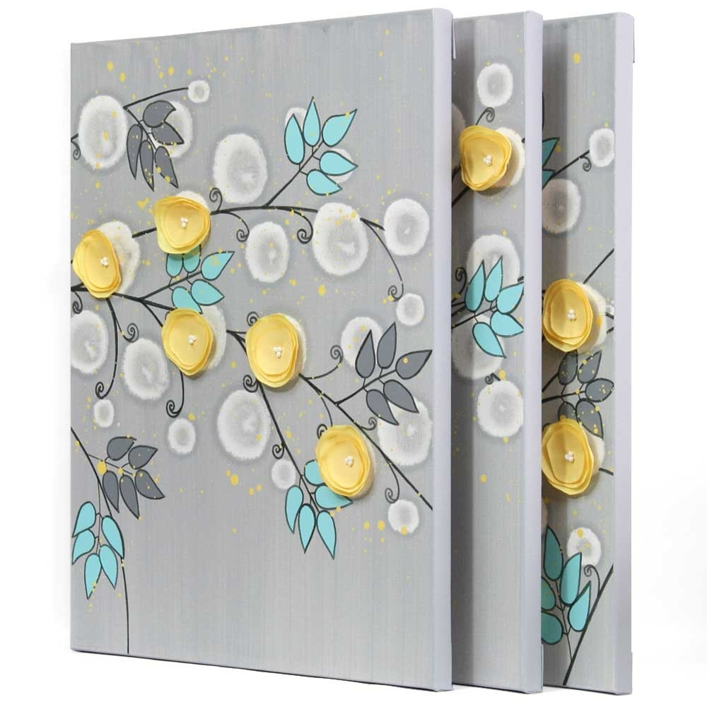 Famous Yellow And Gray Wall Art Inside Gray And Yellow Wall Art Painting Of Flowers On Canvas – Large (View 15 of 15)
