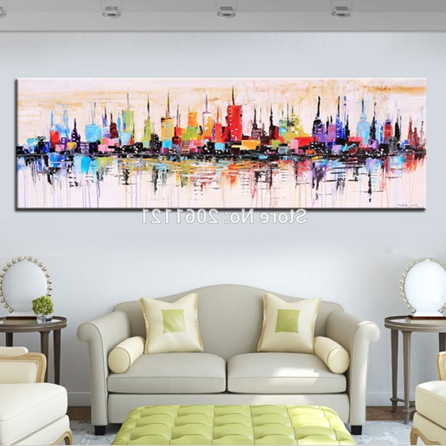 Fashion Modern Living Room Decorative Oil Painting Handpainted Large In Widely Used Long Canvas Wall Art (View 4 of 15)