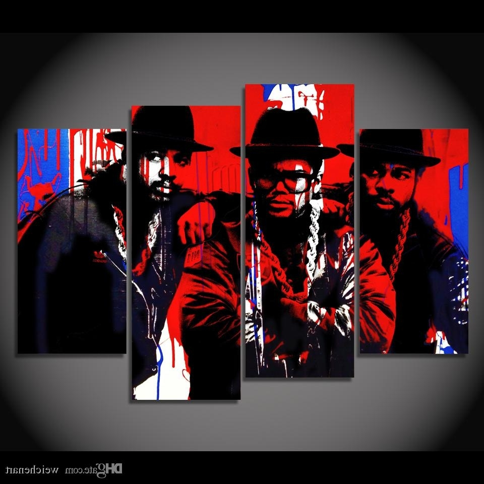 Fashionable 2018 Canvas Painting 4 Panels Canvas Art Black Hip Hop Singer Poster Pertaining To Hip Hop Wall Art (View 4 of 15)