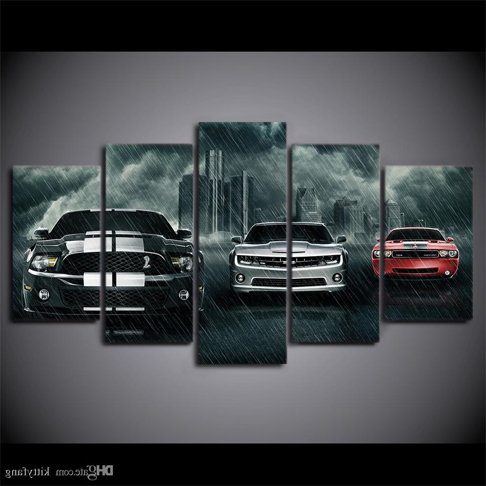 Fashionable 2018 Canvas Wall Art Pictures Home Decor Framework Muscle Cars Throughout Car Canvas Wall Art (View 6 of 15)