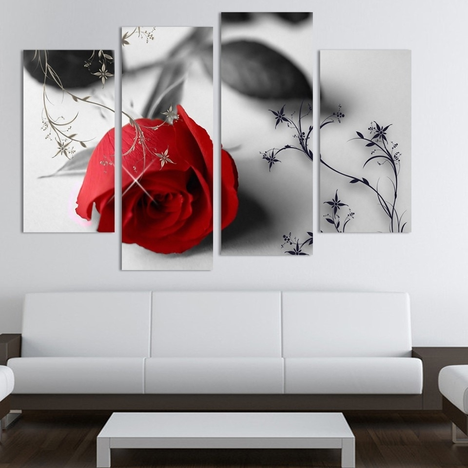 Fashionable 4 Piece Beautiful Red Rose Flowers Wall Painting Modern Home Living In Flower Wall Art (View 11 of 15)