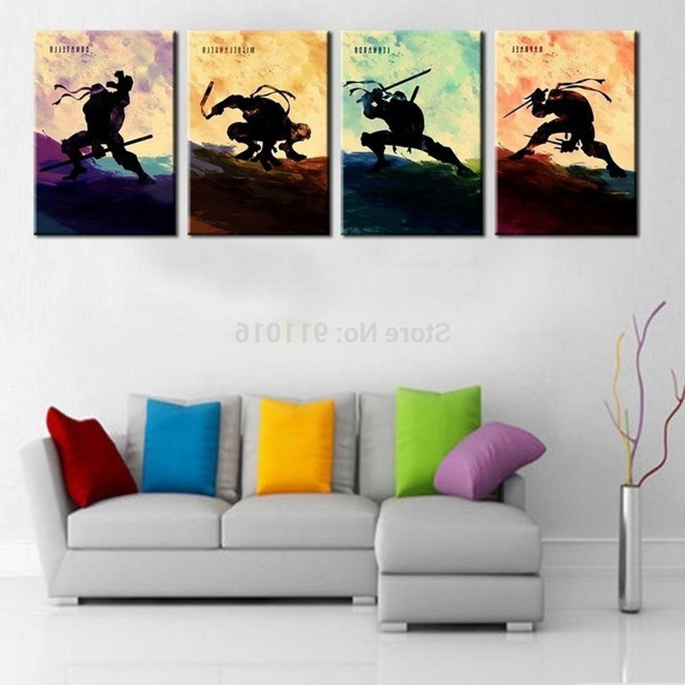 Fashionable 4P Cartoon Painting Hand Painted Abstract Wall Paintings Home Decor In Ninja Turtle Wall Art (View 2 of 15)