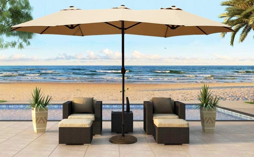 Fashionable Amazon : Le Papillon 14 Ft Patio Outdoor Umbrella Double Sided For Outdoor Patio Umbrellas (View 2 of 15)