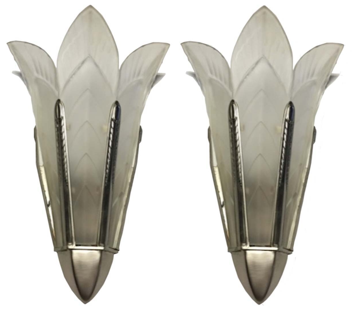 Fashionable Art Deco Wall Sconces Throughout A Pair Of Signed Sabino French Art Deco Wall Sconces (View 3 of 15)