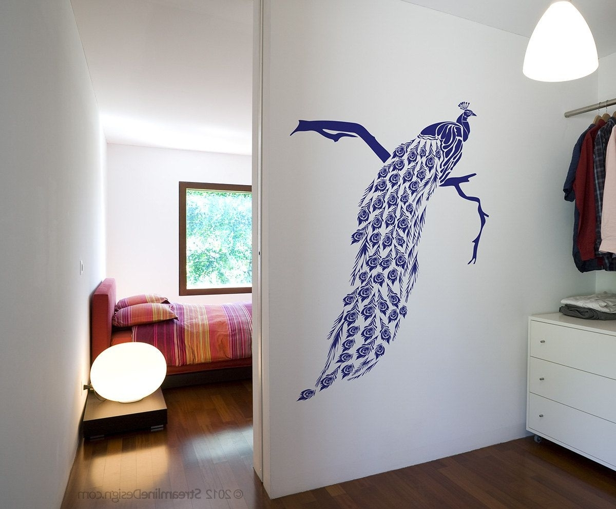 Fashionable Big Beautiful Peacock Removable Vinyl Wall Art Decor, Japanese Intended For Peacock Wall Art (View 10 of 15)