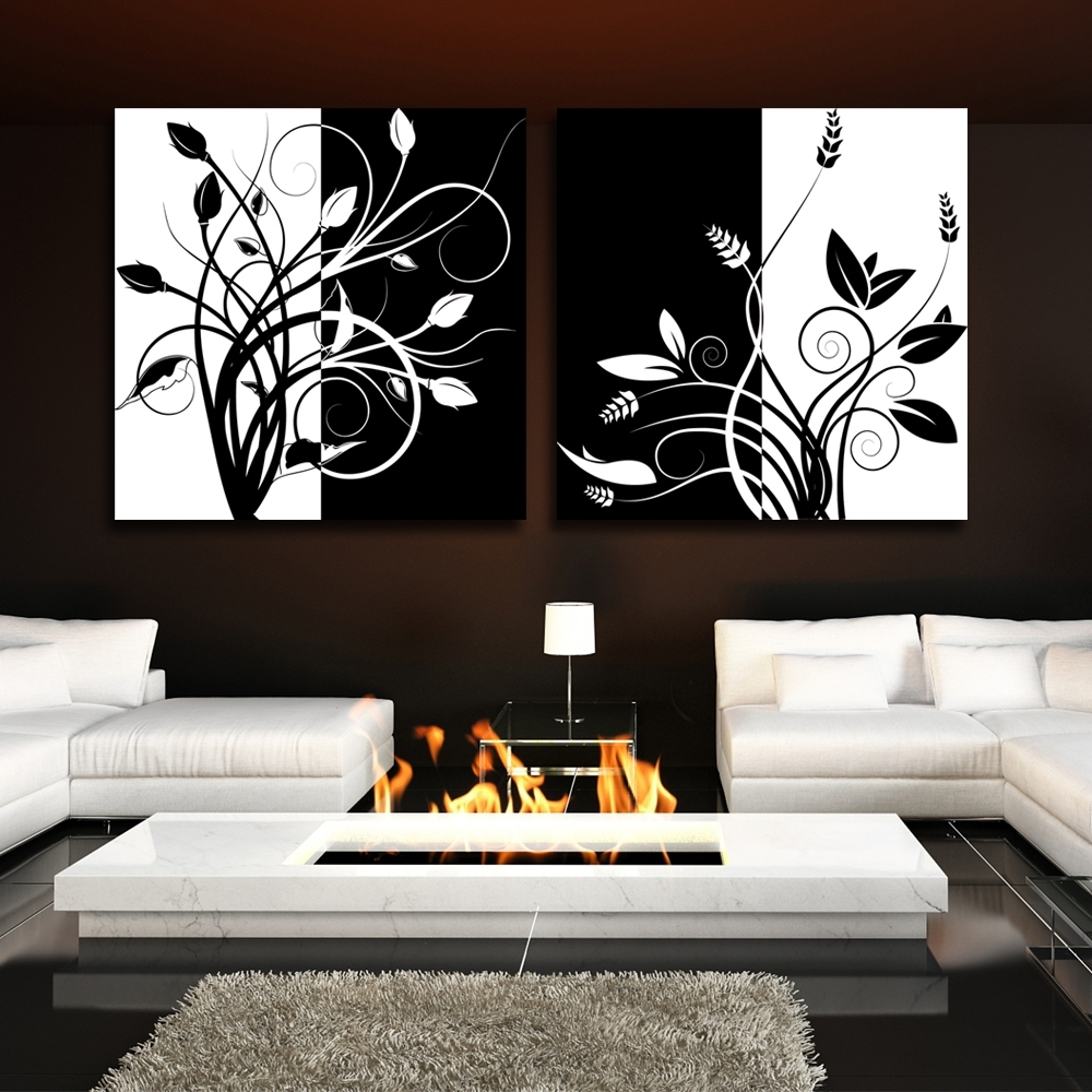 Fashionable Black And White Large Canvas Wall Art Pertaining To 2 Piece Abstract Black And White Tree Home Decor Modern Canvas Wall (View 8 of 15)