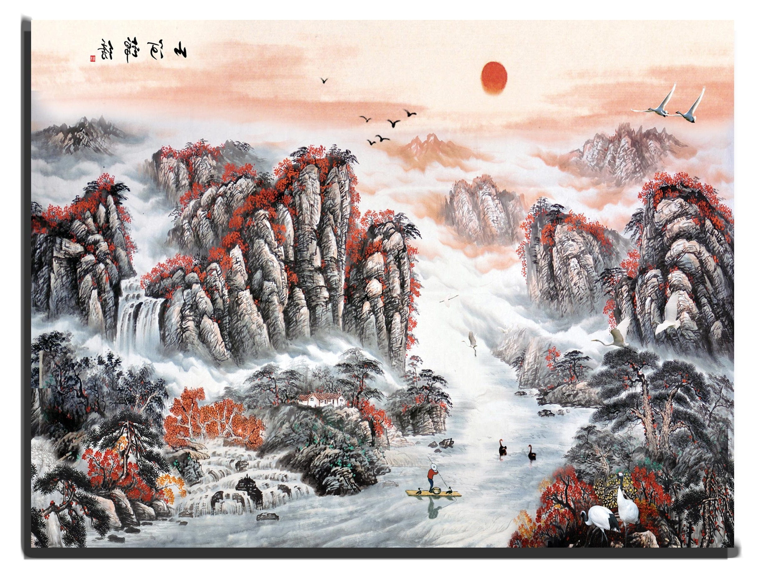 Fashionable Canvas Wall Art Chinese Mountains And River With Rising Sun 90 X 120 In Chinese Wall Art (View 13 of 15)
