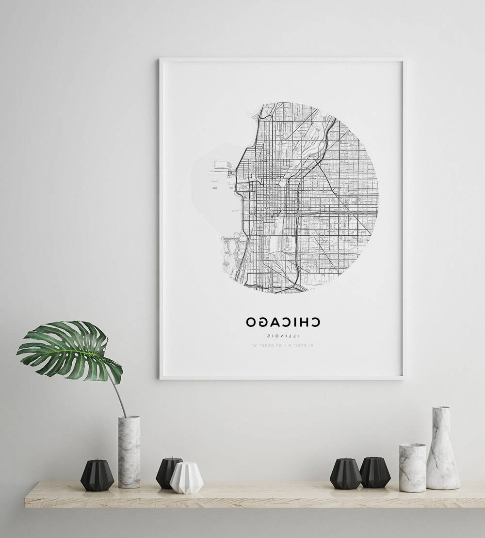 Fashionable Chicago Map Wall Art Pertaining To Chicago Map Poster, Us Map Print, Street Map Print, Illinois Map (View 12 of 15)