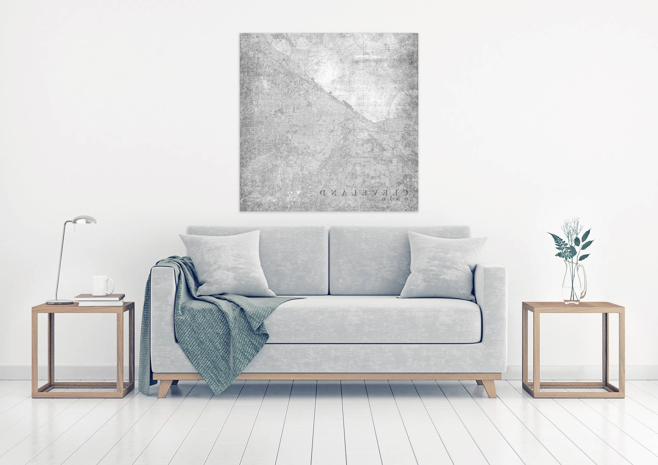 Fashionable Cleveland Oh Canvas Print Ohio Oh Light Gray White Vintage Map Within Grey And White Wall Art (View 7 of 15)