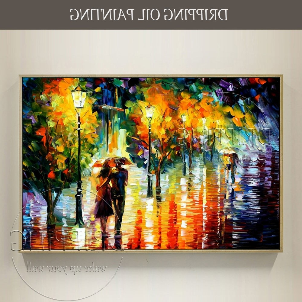 Fashionable Colorful Wall Art Inside Artist Hand Painted Colorful Wall Art Abstract Scenery Lovers Oil (View 8 of 15)