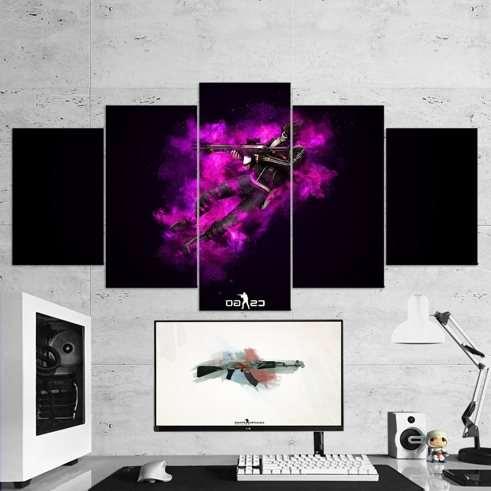 Fashionable Cs:go Counter Strike: Global Offensive 13 – 5 Piece Canvas Wall Art For 5 Piece Canvas Wall Art (View 8 of 15)