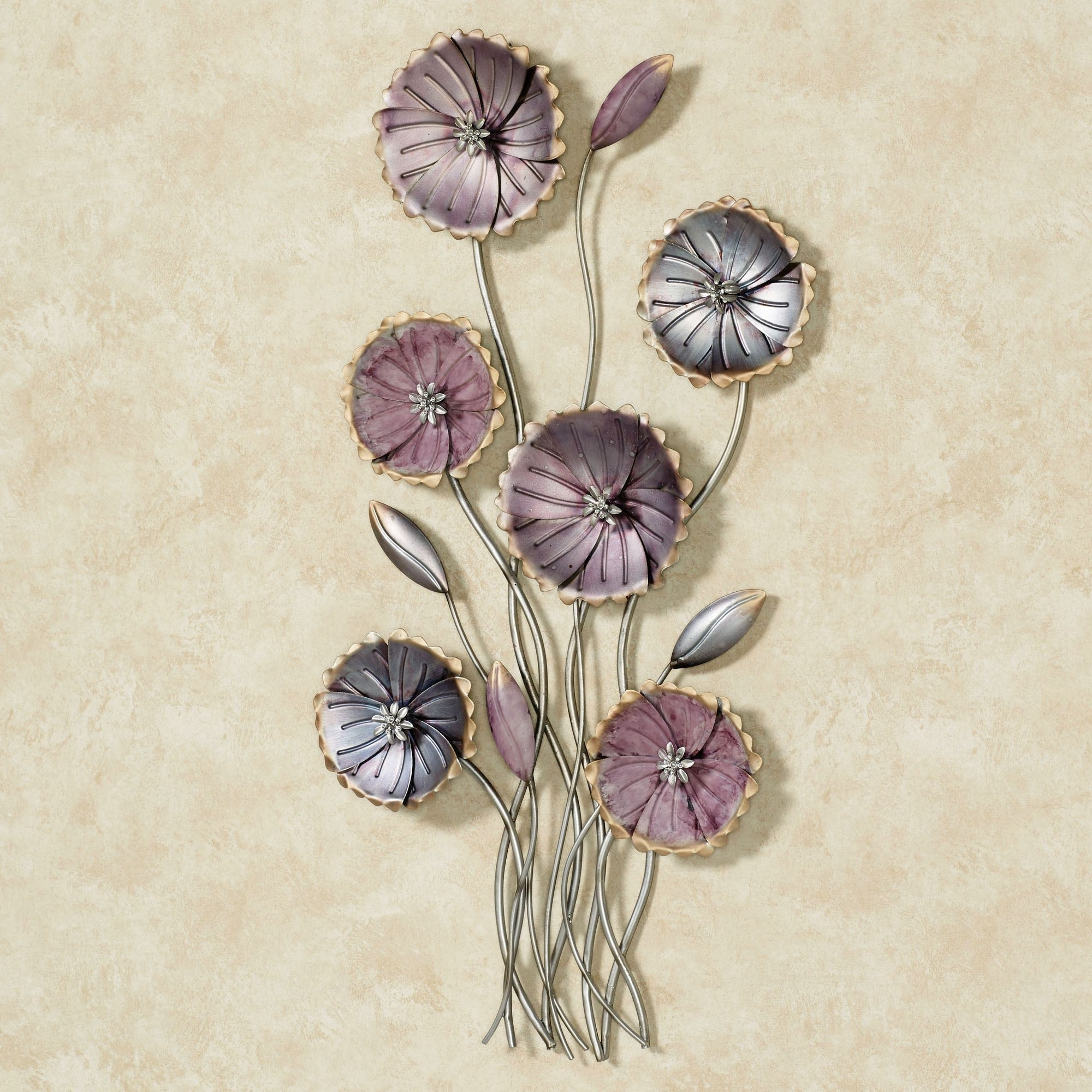 Fashionable Decor: Purple Flower Kirklands Wall Art Metal With White Paint Wall Intended For Metal Flower Wall Art (View 5 of 15)
