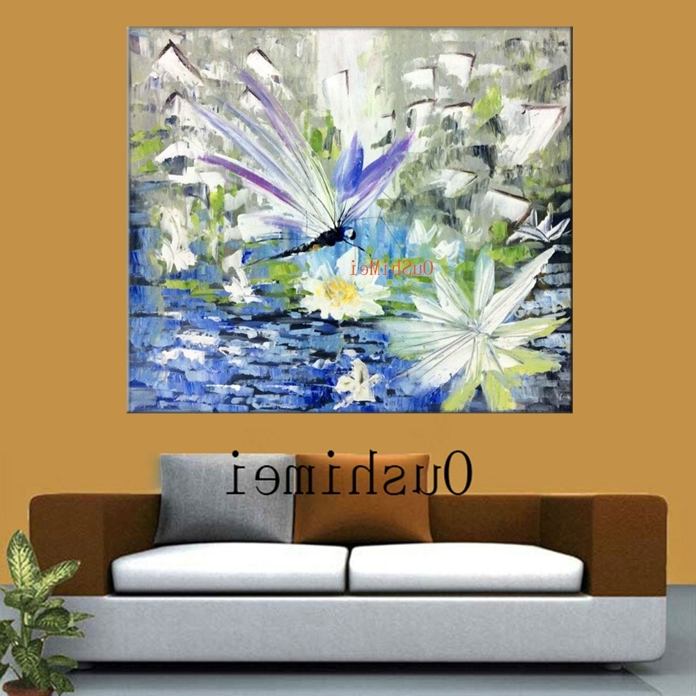 Fashionable Dragonfly Painting Wall Art Regarding Handmade Modern Knife Landscape Pictures On Canvas Painting Acrylic (View 8 of 15)