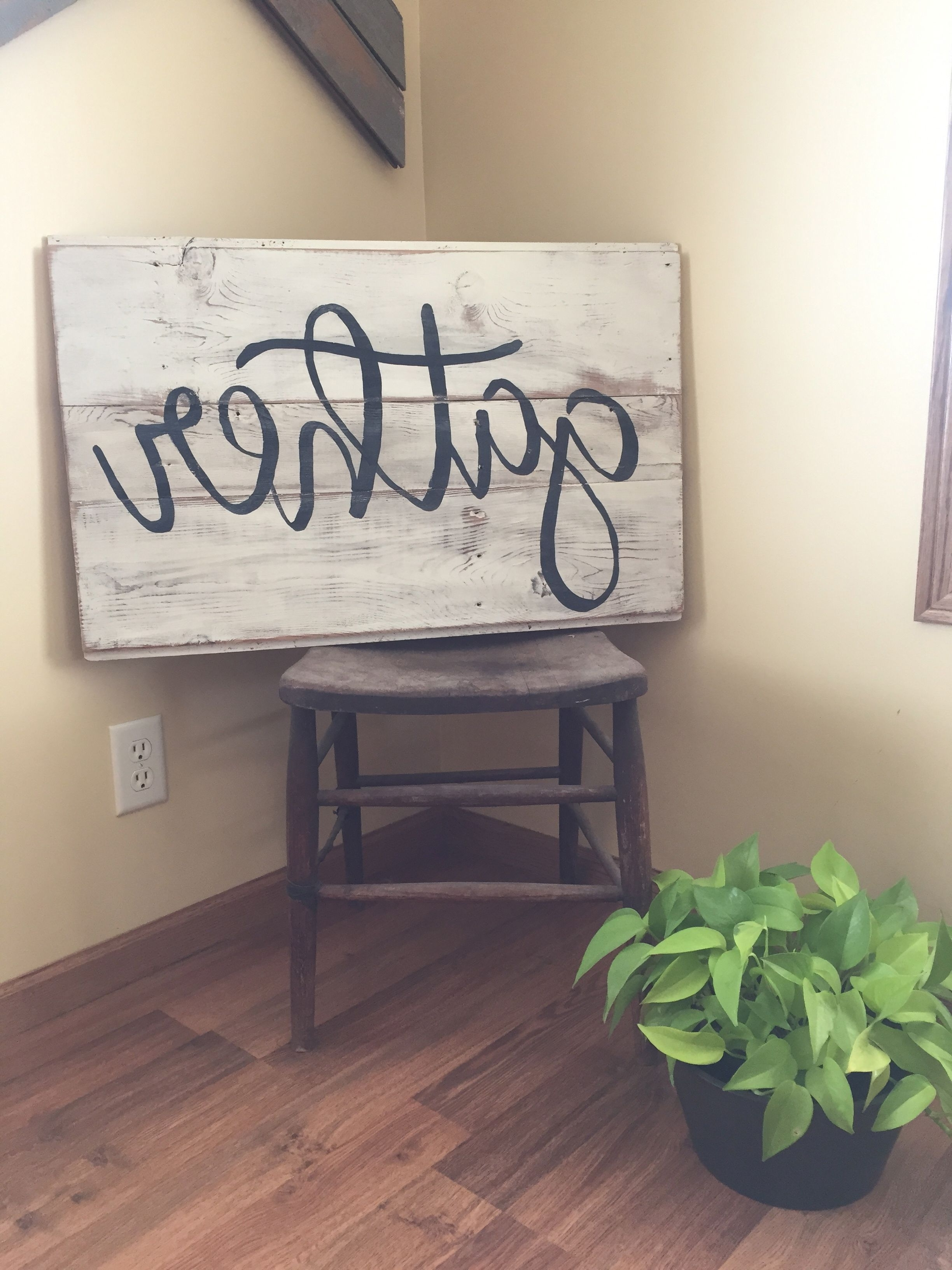 Fashionable Gather Sign. Wood Wall Art. Word Art. Reclaimed Wood Sign (View 6 of 15)