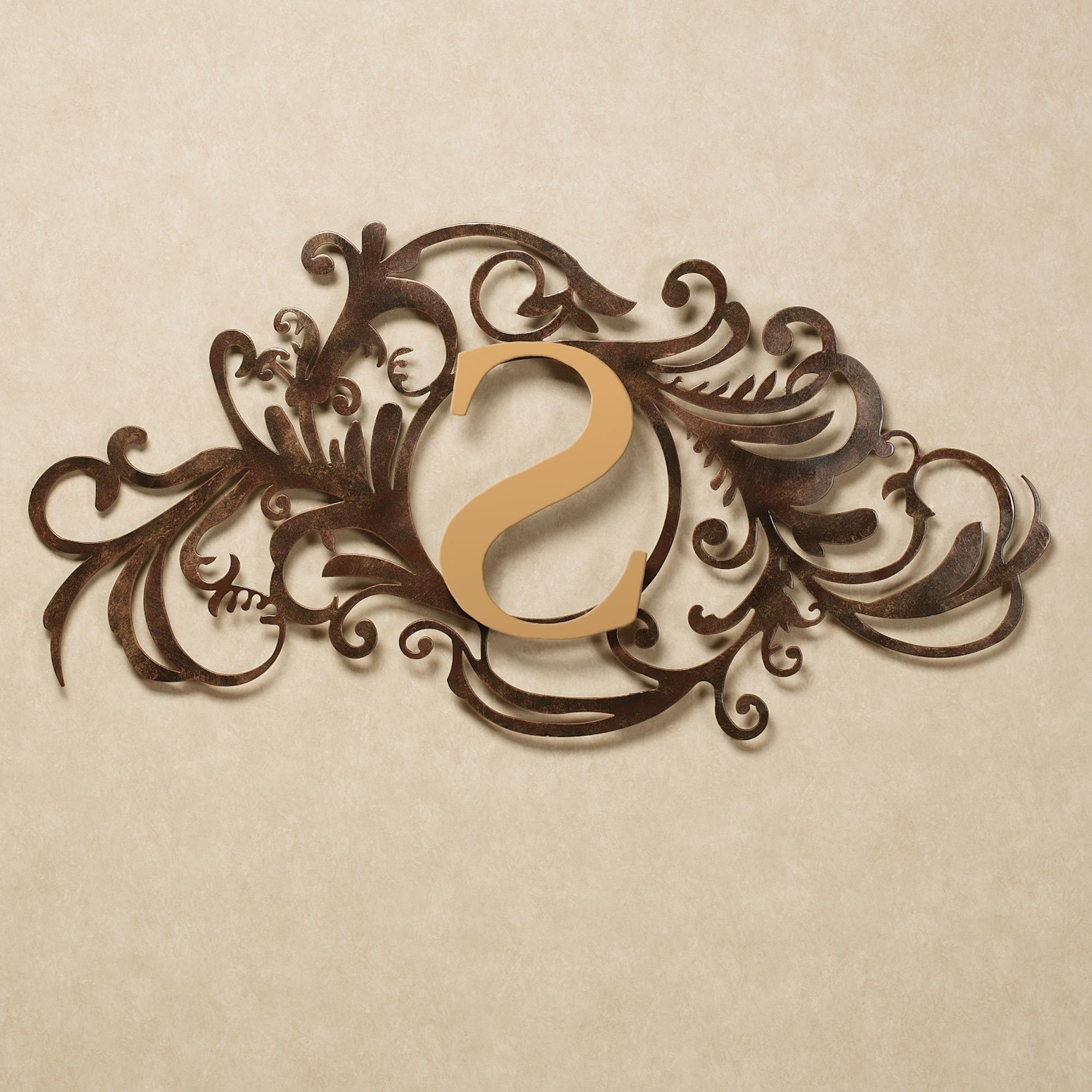 Fashionable Gold Metal Wall Art Pertaining To Evanston Indoor Outdoor Monogram Metal Wall Art Sign (View 4 of 15)