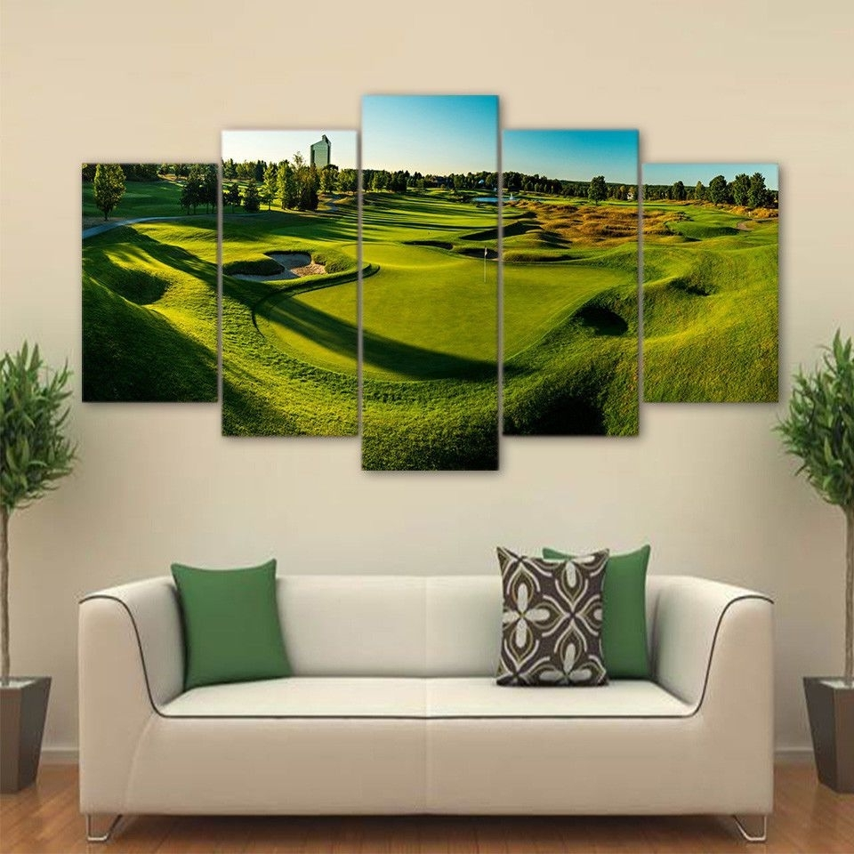 Fashionable Golf Canvas Wall Art With Regard To Golf Course Panorama View 5Pcs Painting Printed Canvas Wall Art Home (View 4 of 15)