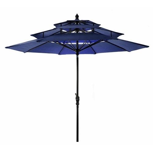 Fashionable Jordan Patio Umbrellas With Jordan Manufacturing Company Navy Three Tier Umbrella Us903L3T Navy (View 8 of 15)