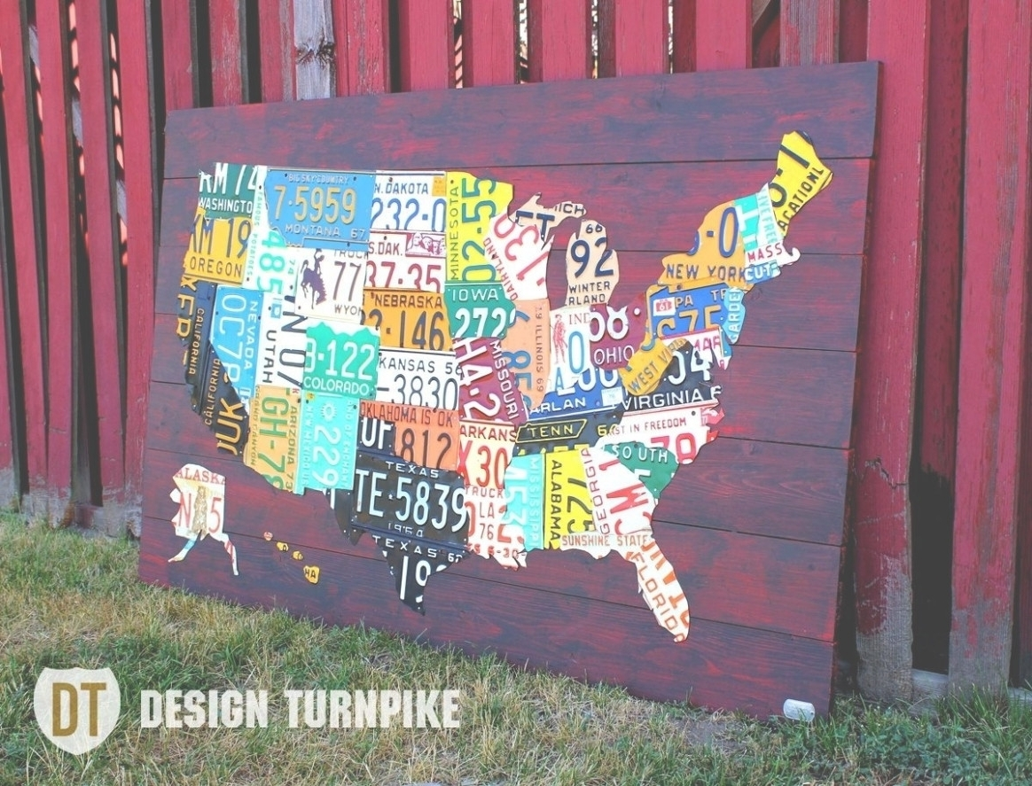 Fashionable License Plate Map Wall Art Within 45 Ideas Of License Plate Map Wall Art Noticeable Us Made Plates (View 11 of 15)