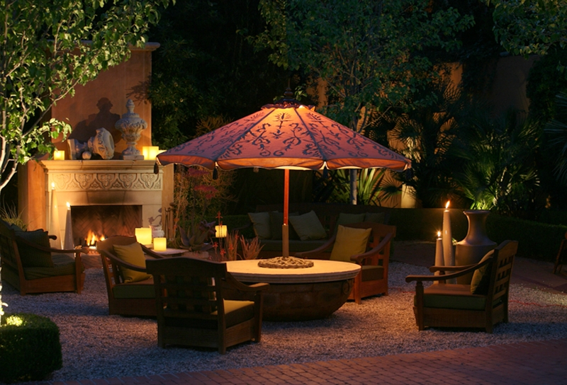 Fashionable Lighted Patio Umbrellas Throughout Lighted Patio Umbrella, Hand Painted, With Tassels And Finial (View 6 of 15)